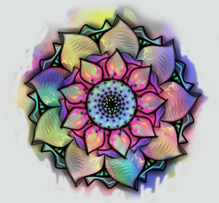 3bbc8386950d Neon Tie-Dye Watercolor Mandala - Dex Design - Digital Art