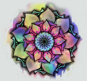 Neon Tie-Dye Watercolor Mandala