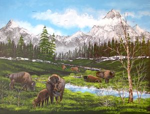 Buffalo Herd on the Mountain Stream