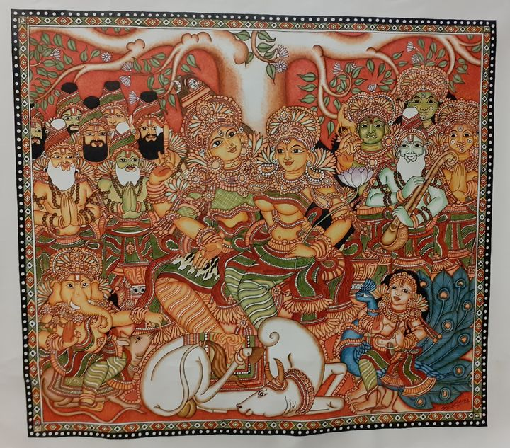 Shiv & Parvati Kerala Mural painting - The Speaking Canvas