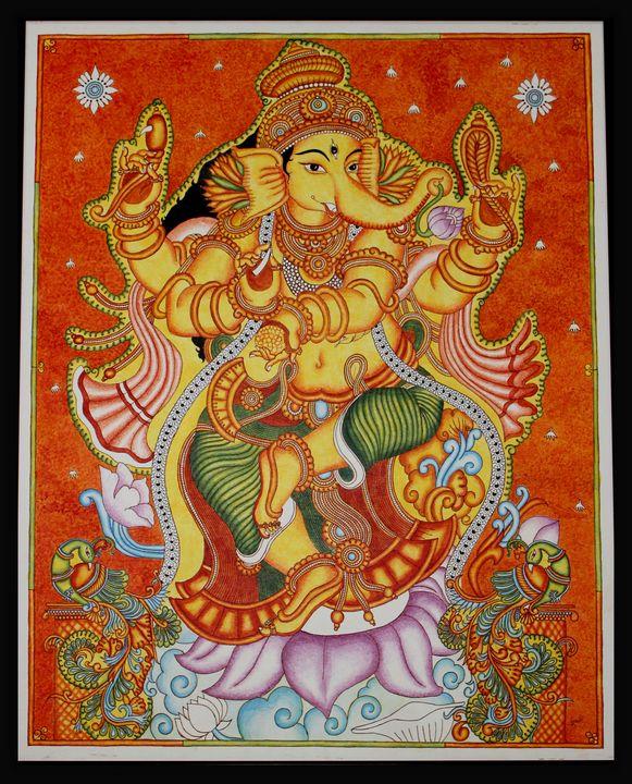 Lord Ganesha Kerala Mural Painting - The Speaking Canvas