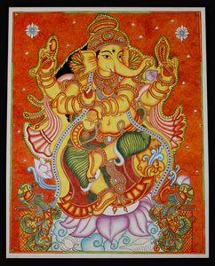 Lord Ganesha Kerala Mural Painting