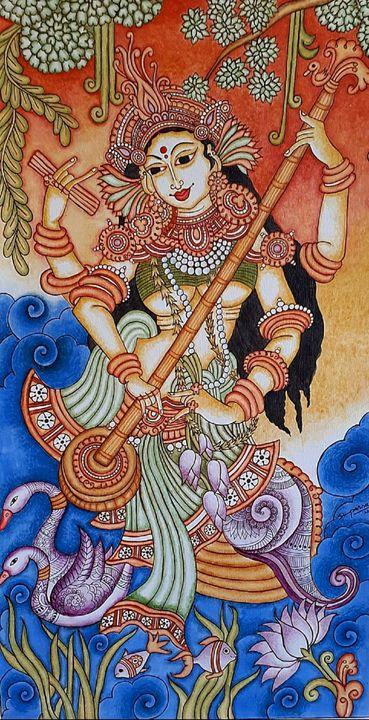 Saraswati - The Goddess of Knowledge - The Speaking Canvas