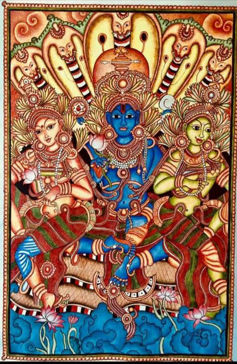 Lord Vishnu reclining on Ananta nag - The Speaking Canvas