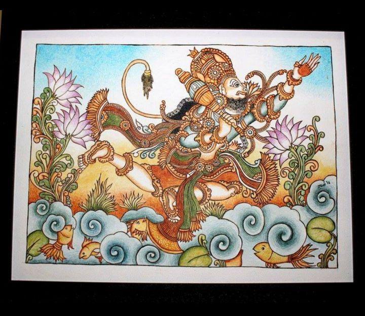 Lord Hanuman on way to Lanka - The Speaking Canvas