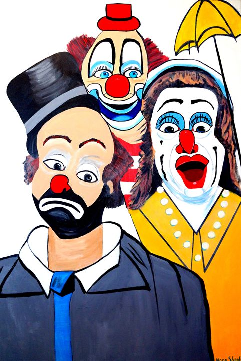 CLOWNS UP UP AND  AWAY - NORA SHEPLEY FINE ART