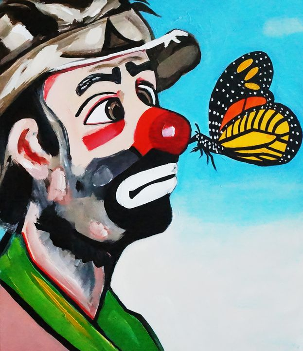CLOWN WITH A BUTTERFLY KISS - NORA SHEPLEY FINE ART