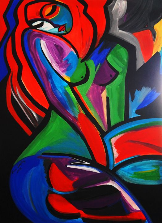ABSTRACT FEMALE   MISS RAIN BOW GIRL - NORA SHEPLEY FINE ART