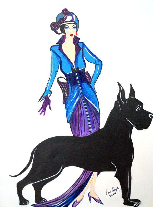 ART DECO  LITTLE GIRL WITH BIG DOG - NORA SHEPLEY FINE ART