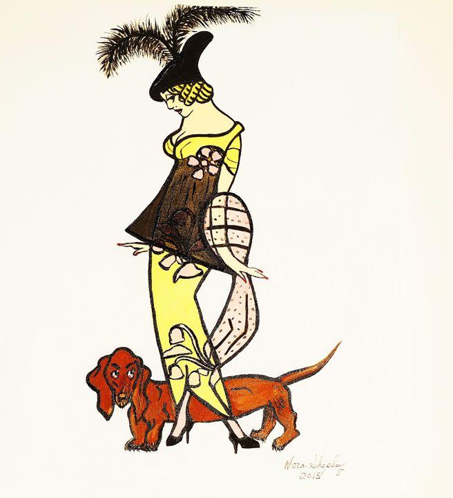 1920's  GIRL WITH DOG - NORA SHEPLEY FINE ART