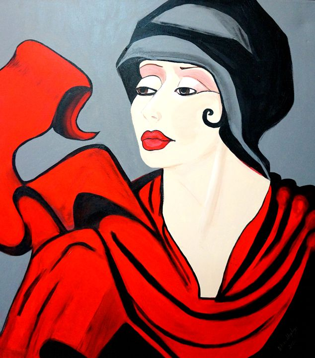 RED SCARF  ART DECO - NORA SHEPLEY FINE ART