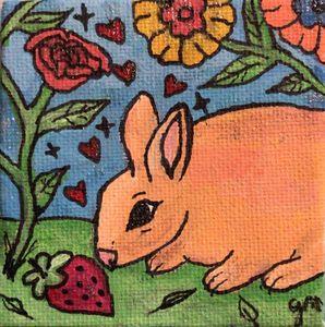 Bunnies love strawberries