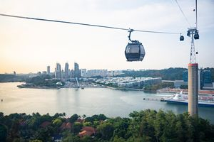 Sentosa cable car over Singapore