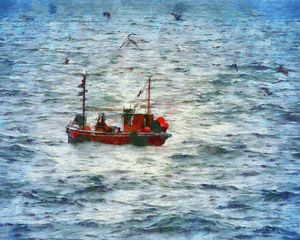 Fishing Boat at Sea PhotoArt