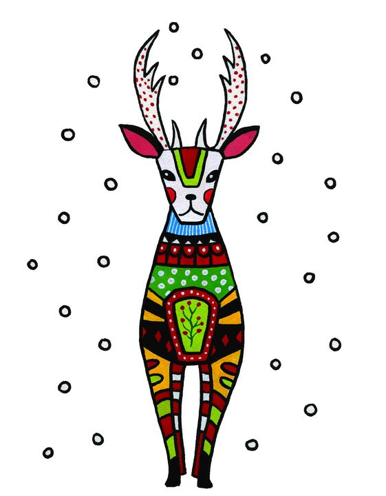 Christmas Folk Art Reindeer - Roxie Colors