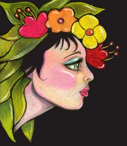 Girl with Flowers on Her Head #6