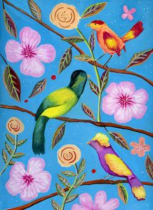 Whimsical Birds on a Tree