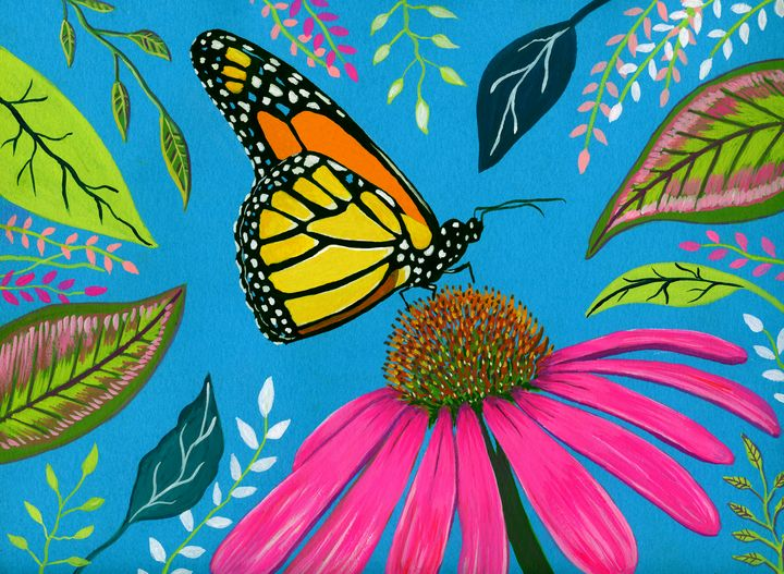 Monarch Butterfly in a Garden - Roxie Colors