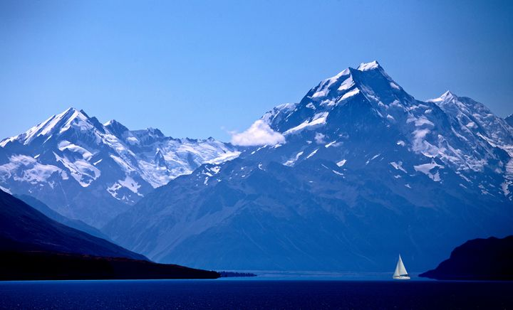 Mount Cook New Zealand sailboat - Fine Art Photography