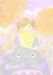 Totoro and the little girl.