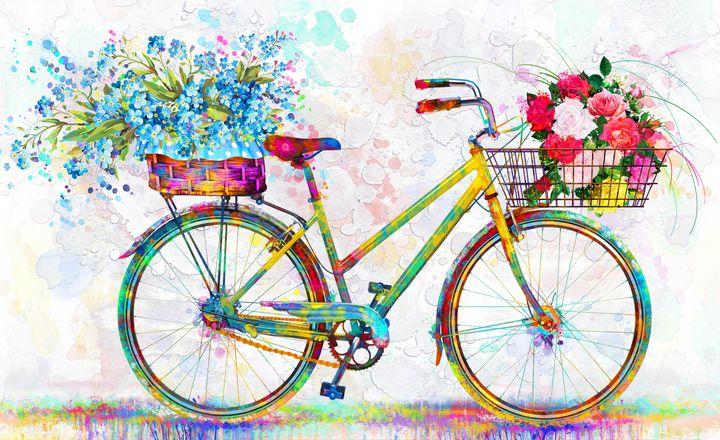 floral bicycle vintage - tayorart