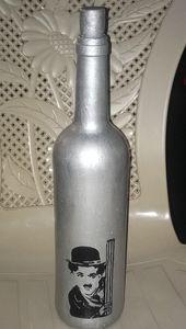Wine Bottle Charley Chaplin acrylic