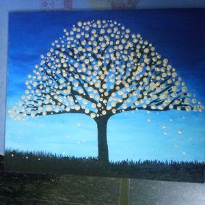 Acrylic Canvas Metalic silver Tree