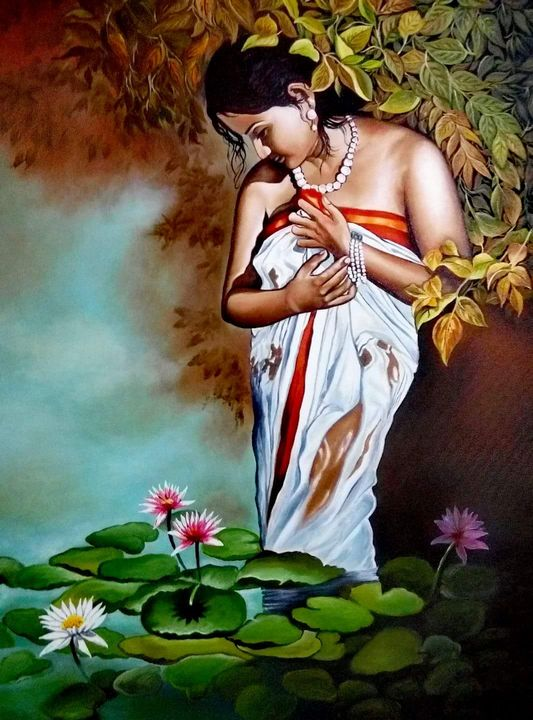 Lady in a lotus pond - Siri Arts