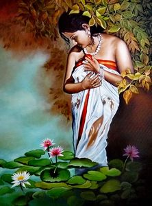 Lady in a lotus pond