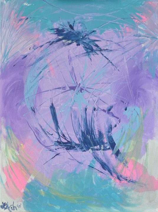 Girl's Lavender/Pink Abstract - Roses Artwork