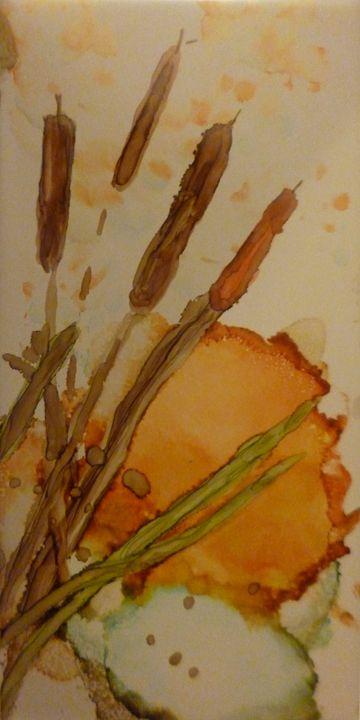 Cattails - Roses Artwork