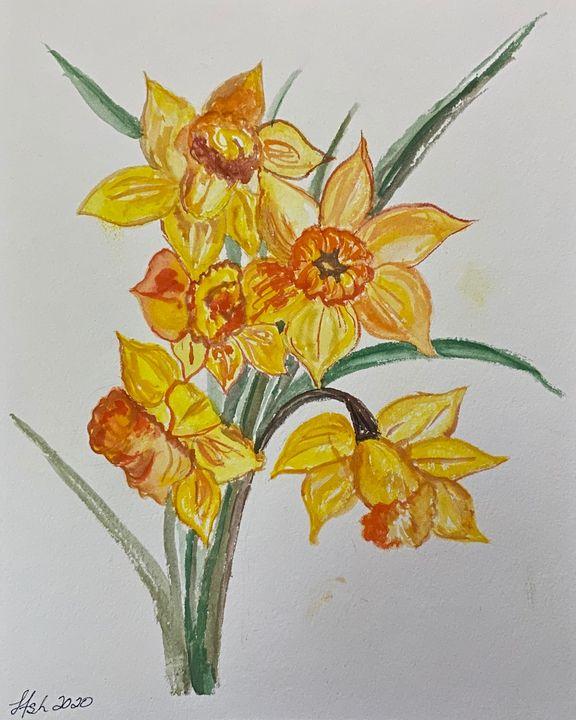 Watercolor Daffodils - Roses Artwork