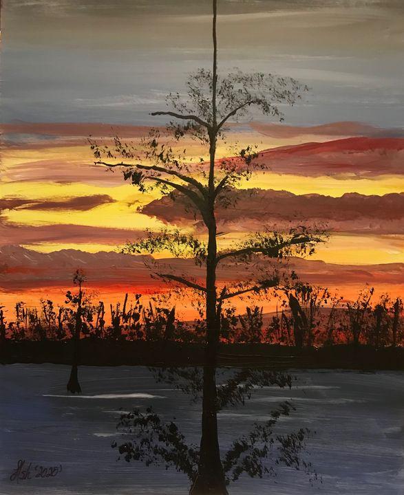 Mallard Lake Sunset - Roses Artwork
