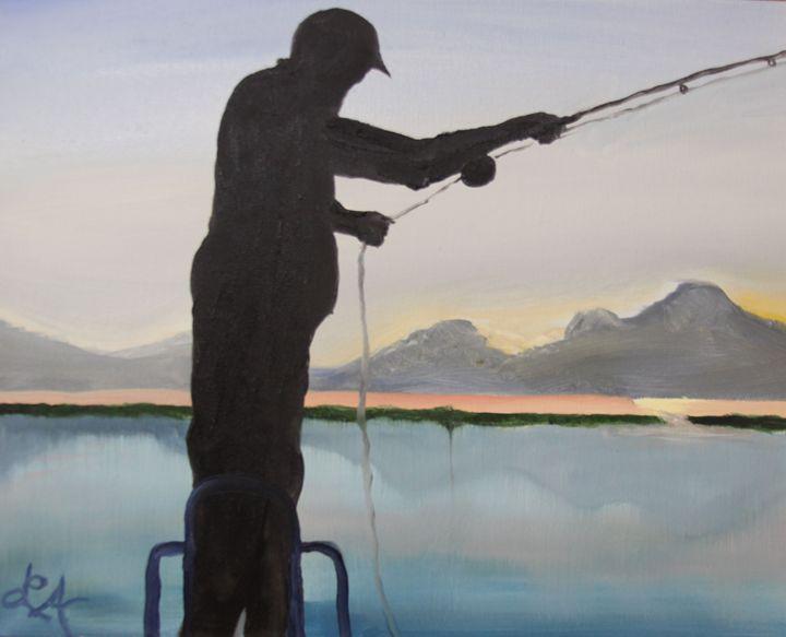Fisherman silhouette - Roses Artwork