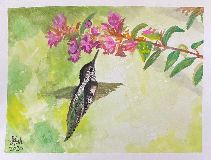 Hummingbird - Roses Artwork