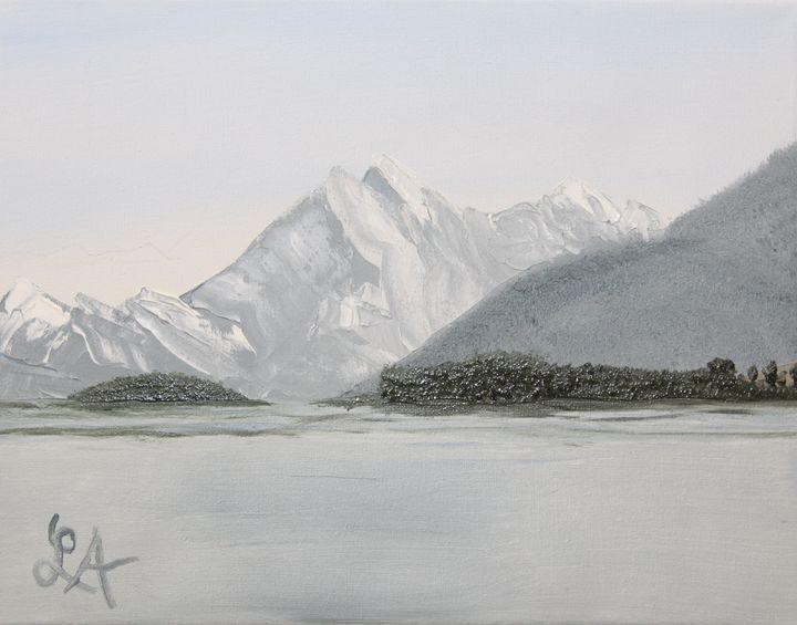 Mountain above a lake - Roses Artwork