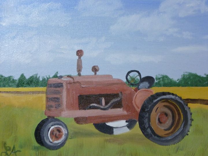 Old farm tractor - Roses Artwork