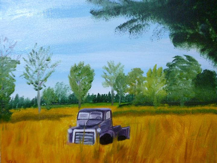 Old truck in a field - Roses Artwork