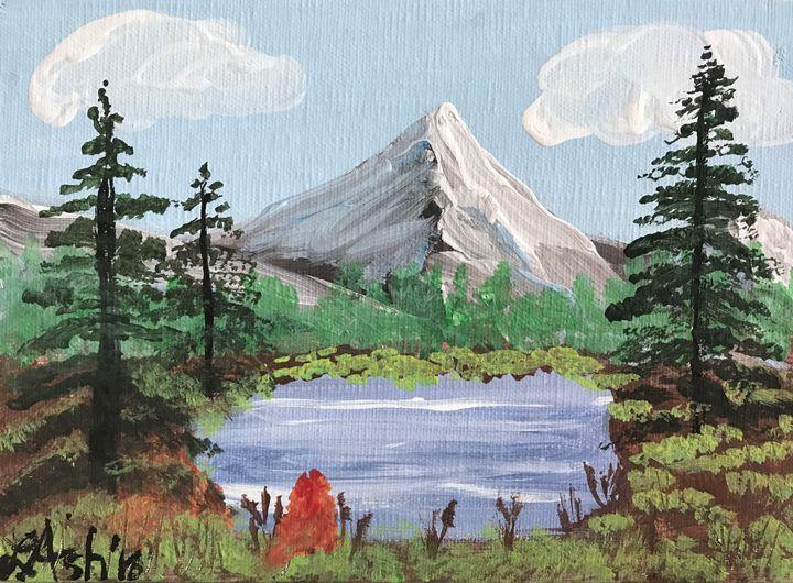 Mountain landscape - Roses Artwork