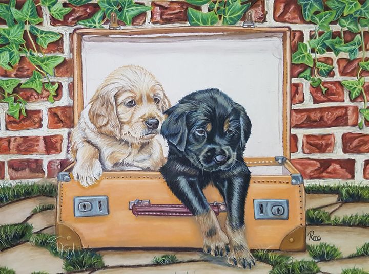 Puppy Luggage - Pastel Art by Rebecca