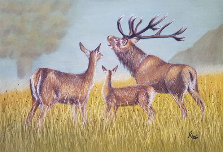 Family Call - Pastel Art by Rebecca