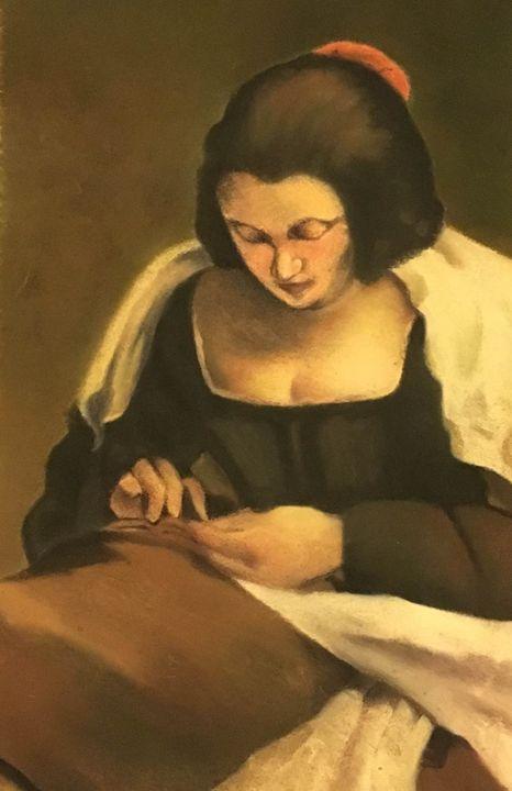 Woman Sewing - Anuja's Artwork