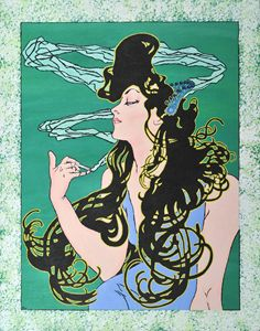 Mucha's Young Woman with Cigarette