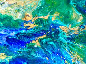 Acrylic pouring of Blue Sea