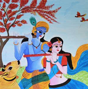 Acrylic painting of Radha-Krishna