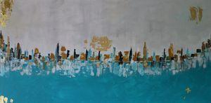 Seashore City Abstract painting