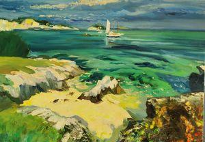 Cliffs and ocean original painting