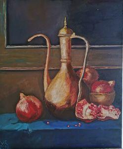 Pomegranates still life painting