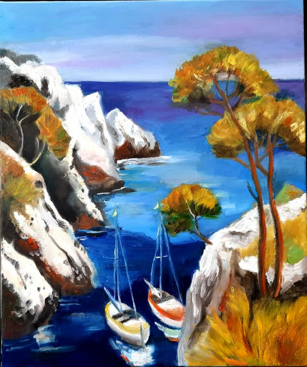 Sea and maintain original oil artwor - Victoria Rinkevica art