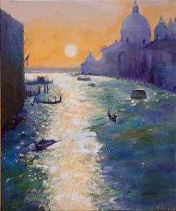 Oil painting Sunset Venice